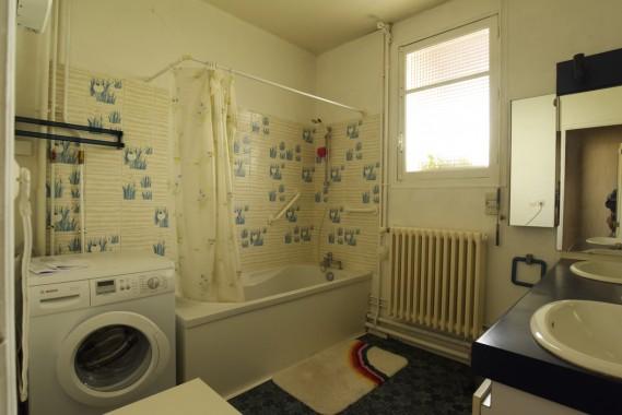 baignoire - 2 lavabos - machine à laver le linge