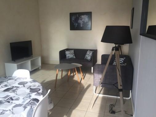 Salon avec canapés et TV